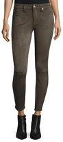7 For All Mankind Knee-Seam Sueded Skinny Jeans, Olive