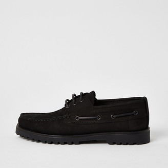 River Island Black leather chunky boat shoes