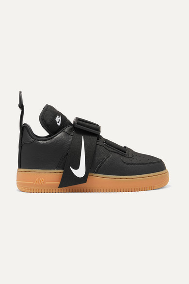 Nike Air Force 1 Utility Piqué, Smooth And Textured-leather Sneakers - Black