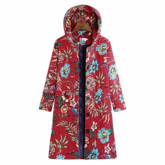 Tuduz Outerwear Womens Oversize Long Coats TUDUZ Ladies Winter Warm Vintage Chinese Style Parka Loose Ethnic Boho Print Button Jacket (B Red XL=UK(M))