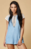 MinkPink Caught Out Chambray Mesh Romper