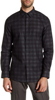 Perry Ellis Plaid Micro-Dot Long Sleeve Slim Fit Shirt