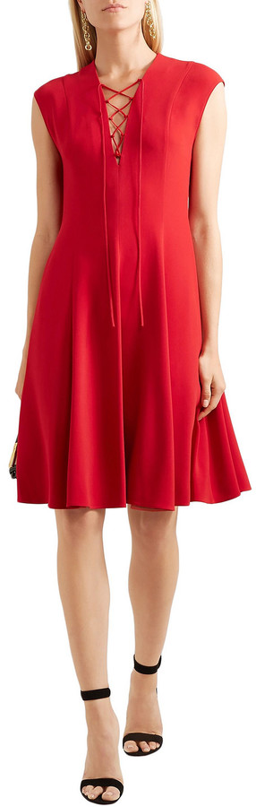 Thumbnail for your product : Stella McCartney Paula Lace-up Pleated Stretch-crepe Dress