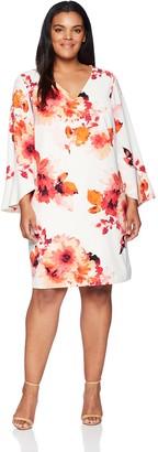 Calvin Klein Women's Size V Neck Sheath with Flutter Bell Sleeve Dress