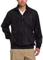 PGA TOUR Men's Long Sleeve 1/4 Zip Embossed Plaid Printed Wind Shirt