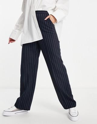 ASOS DESIGN straight leg 3 piece suit pants in navy pinstripe
