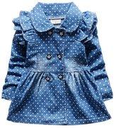 Zhengpin Baby Girls Lapel Dots Ruffled Denim Tutu Blouse Coat 1-4T
