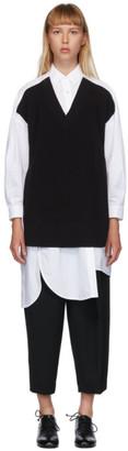 Enfold White and Black V-Neck Layered Shirt