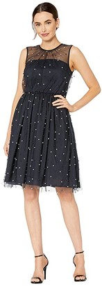 Maggy London Pearl Mesh Novelty Fit and Flare (Navy Blue) Women's Dress