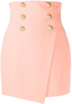 Balmain Short High-Waist Buttoned Wrap Skirt