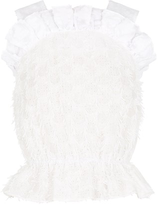 pushBUTTON White Fringed Broderie Anglaise Top