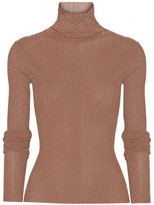 Tibi Metallic Ribbed-knit Turtleneck Sweater - x small