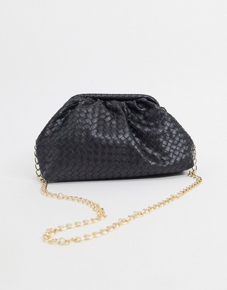 Glamorous slouchy pillow clutch bag in black woven