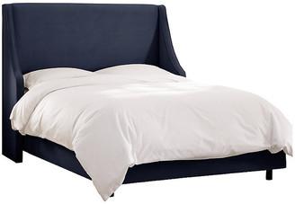 One Kings Lane Davis Wingback Bed - Navy Velvet - Full