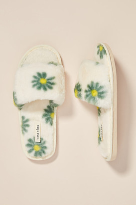 Retro Blossom Lala Faux Fur Slippers By Casa Clara in Green Size S