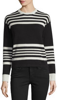 Frame Cashmere Crewneck Sweater, Bone & Noir Sculpture Stripe