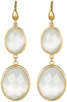 Rivka Friedman 18K Gold Clad Graduated Faceted Oval White Cat's Eye Crystal Double Drop Earrings