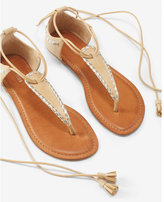 Express metallic whipstitch lace-up sandals