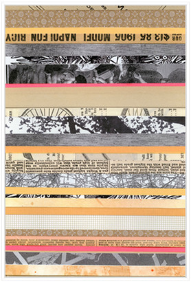 Jonathan Bass Studio Paper Strip Collage A, Decorative Framed Hand Embe