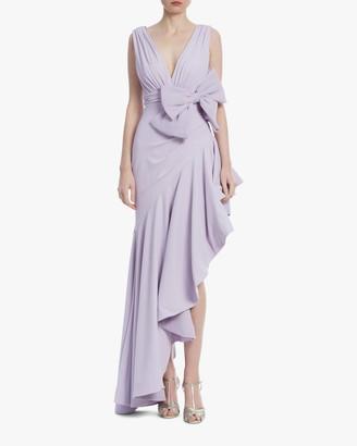 Badgley Mischka Lavender Bow Ruffle-Hem Gown