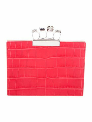 Alexander McQueen Embossed Leather Knuckle Flat Clutch Red