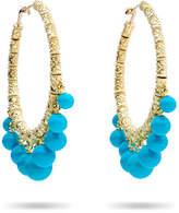 Paul Morelli Turquoise Beaded Bell Hoop Earrings