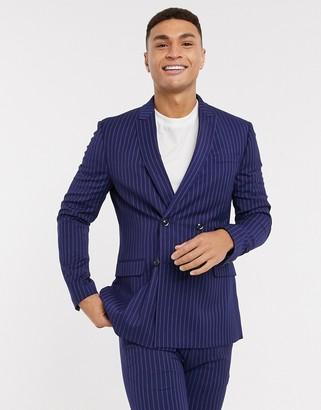 Topman super skinny fit pinstripe suit jacket in blue
