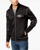 INC International Concepts Men's Zipper Jacket with Faux Leather Trim, Created for Macy's