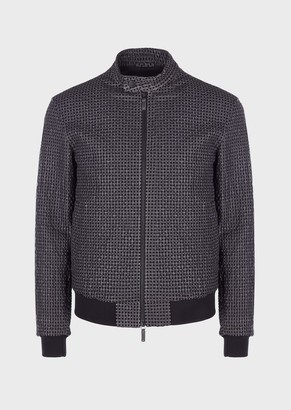 Emporio Armani Perforated, Vegetable-Tanned Lambskin Nappa Leather Jacket