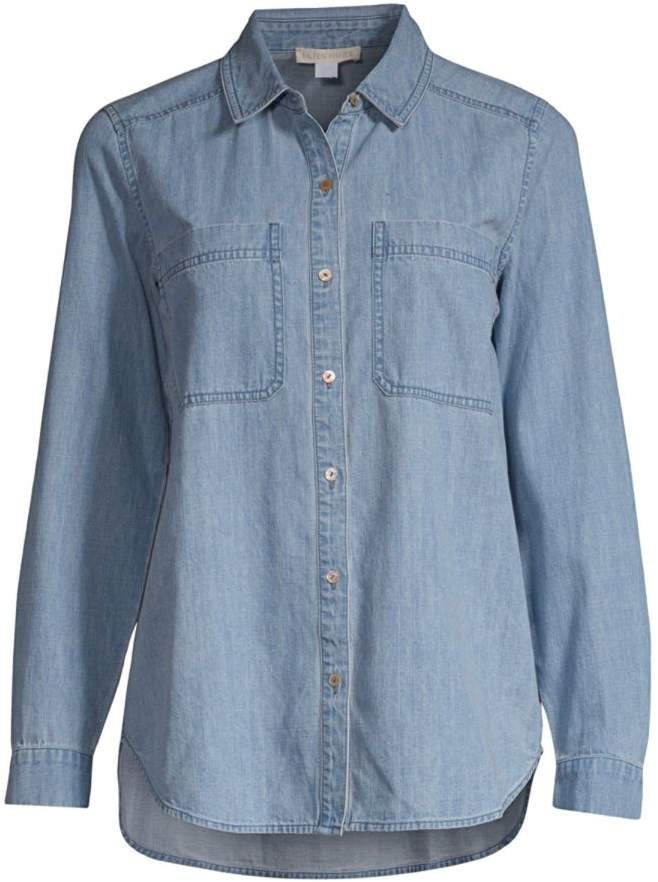 Eileen Fisher Organic Cotton Denim Button-Down Shirt