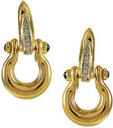 Lord & Taylor 14K Gold Sapphire and Diamond Horseshoe Earrings