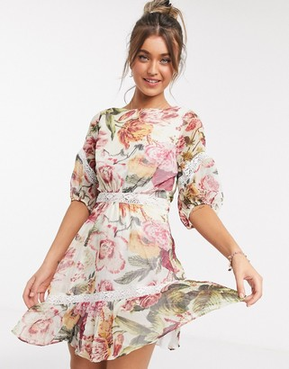 Hope & Ivy ruffle hem mini dress with open back in floral