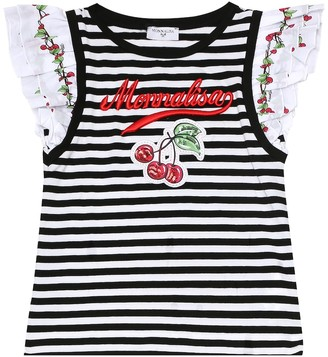 MonnaLisa Striped stretch-cotton T-shirt