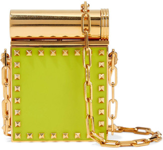 Valentino Studded Gold-tone And Enamel Compact Mirror
