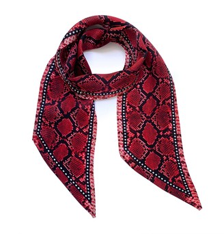 Ingmarson Snakeskin Silk Neck Scarf Red