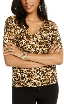Thalia Sodi Printed Button-Sleeve V-Neck Top, Created for Macy's