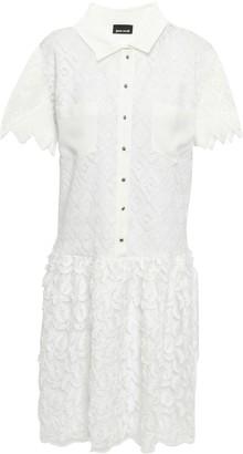 Just Cavalli Crochet And Fil Coupe Chiffon Mini Dress