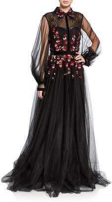 Badgley Mischka Couture Embroidered Tulle Shirtdress