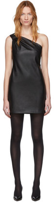 we11done Black Faux-Leather One Shoulder Dress
