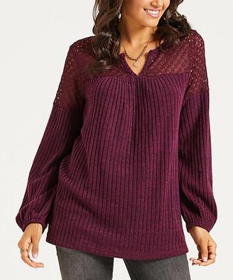 Suzanne Betro Weekend Women's Tunics 101BERRY - Burgundy Lace-Shoulder Notch Neck Tunic - Women & Plus