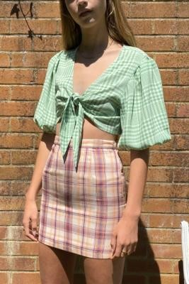 Daisy Street Check Mini Skirt - Assorted L at Urban Outfitters