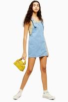 Topshop Womens Blue Denim Pinafore Dress - Mid Stone