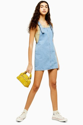 Topshop Womens Blue Denim Pinafore Dress - Mid Stone