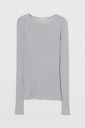 H&M Ribbed Silk-blend Top