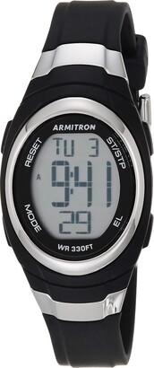 Armitron Sport Unisex 45/7034BLK Stainless Steel Accented Black Resin Strap Chronograph Digital Watch