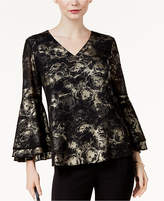 Alfani Novelty Metallic-Print Bell-Sleeve Blouse, Created for Macy's