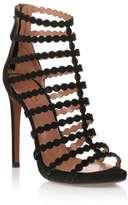 Alaia Black suede cage sandal