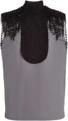 Prada Beaded Cotton Poplin Bib-Front Shirt