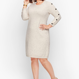 Talbots Tweed Button Sleeve Sweater Dress