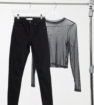 Topshop Petite Jamie skinny jeans in pure black